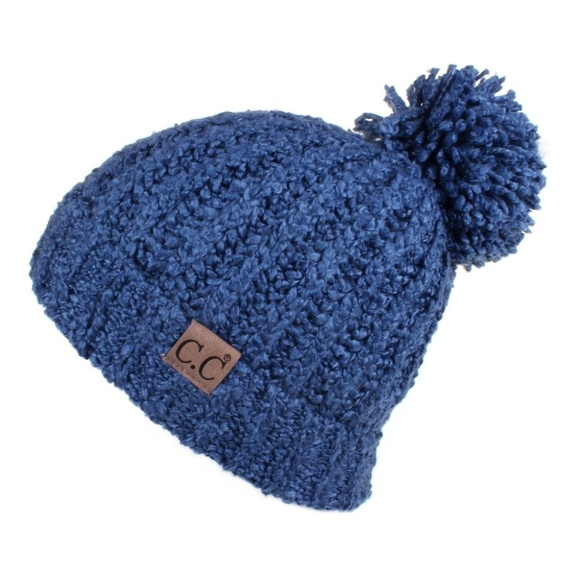 Chenille Pom Pom Beanie in DARK DENIM 96146ff60680